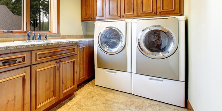 Washer and dryer hookups in kitchen